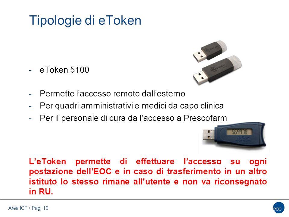 Tipologie di eToken eToken 5100 Permette l'accesso remoto dall'esterno