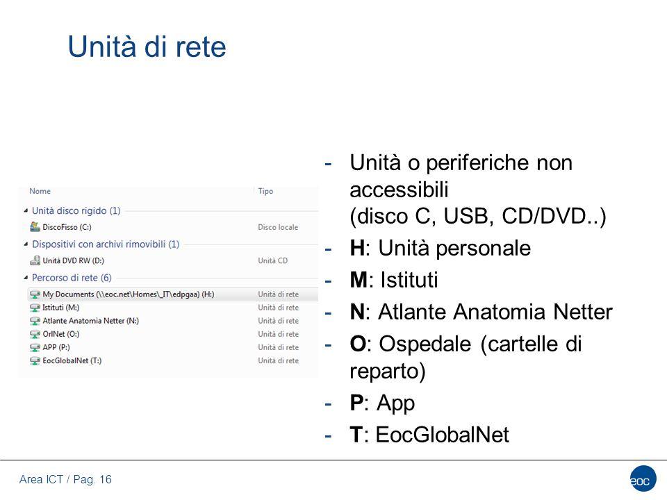 Unità di rete Unità o periferiche non accessibili (disco C, USB, CD/DVD..) H: Unità personale. M: Istituti.