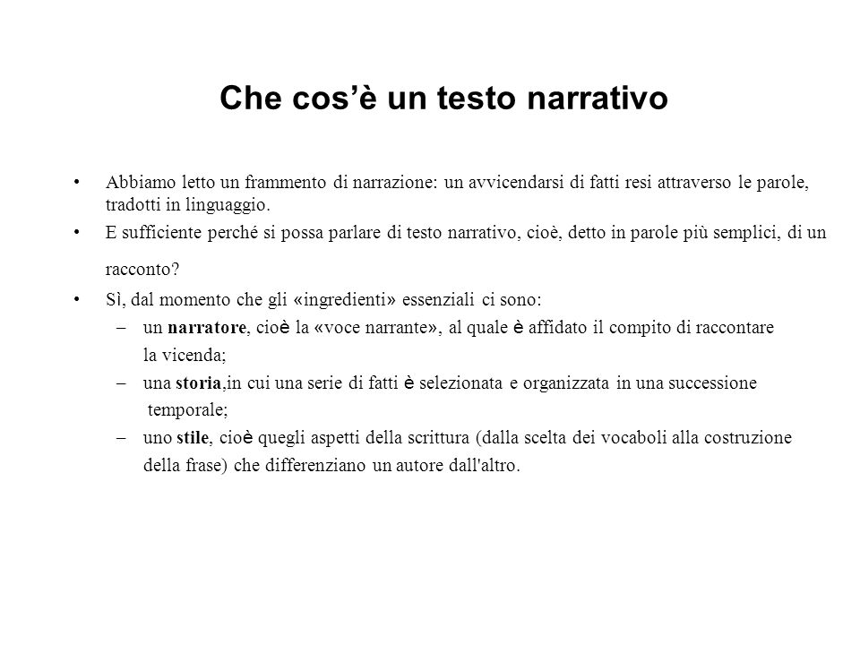 Che cos'è un testo narrativo