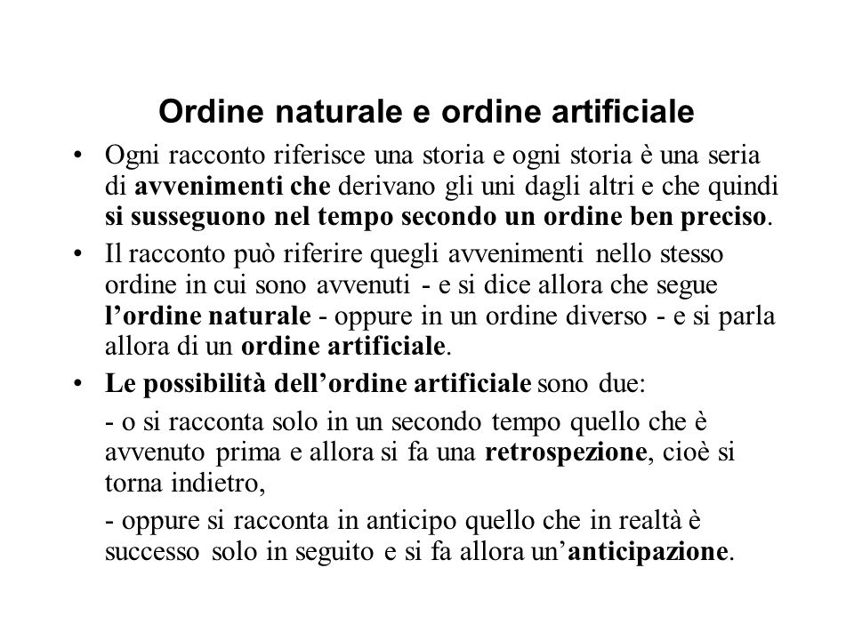 Ordine naturale e ordine artificiale