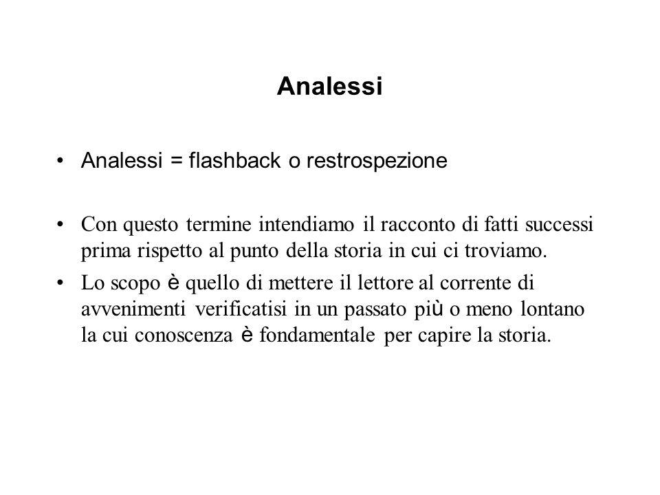 Analessi Analessi = flashback o restrospezione