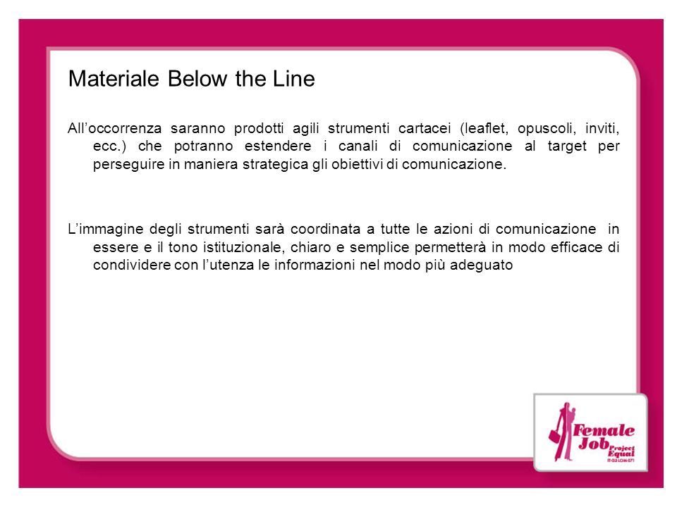Materiale Below the Line