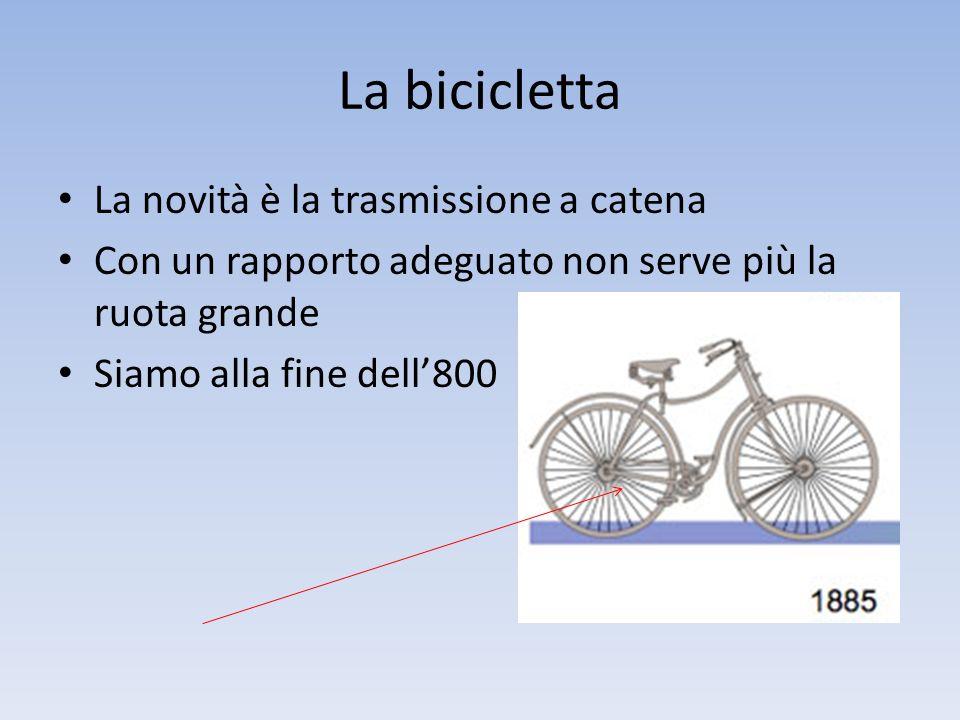 La bicicletta La novità è la trasmissione a catena