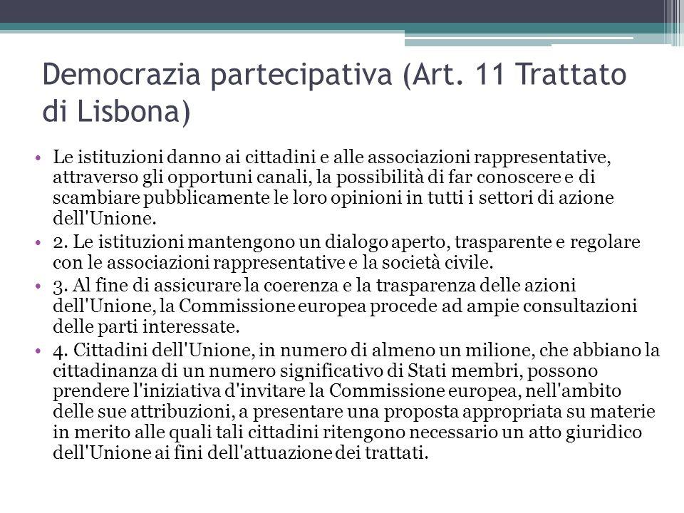 Democrazia partecipativa (Art. 11 Trattato di Lisbona)