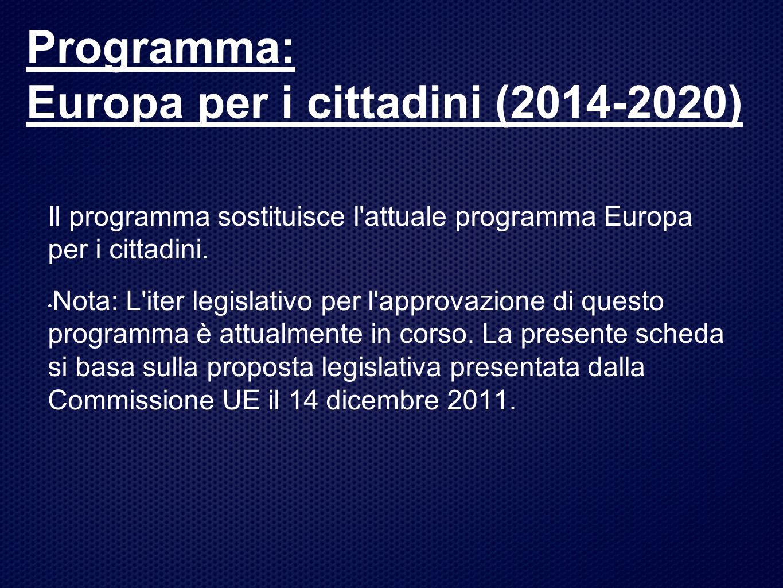 Programma: Europa per i cittadini (2014-2020)