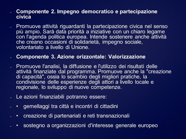 Componente 2. Impegno democratico e partecipazione civica