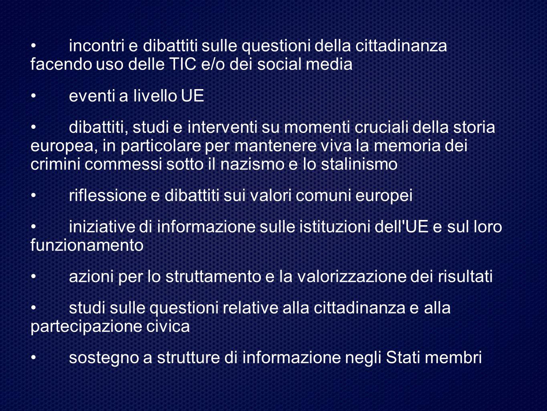 • incontri e dibattiti sulle questioni della cittadinanza facendo uso delle TIC e/o dei social media