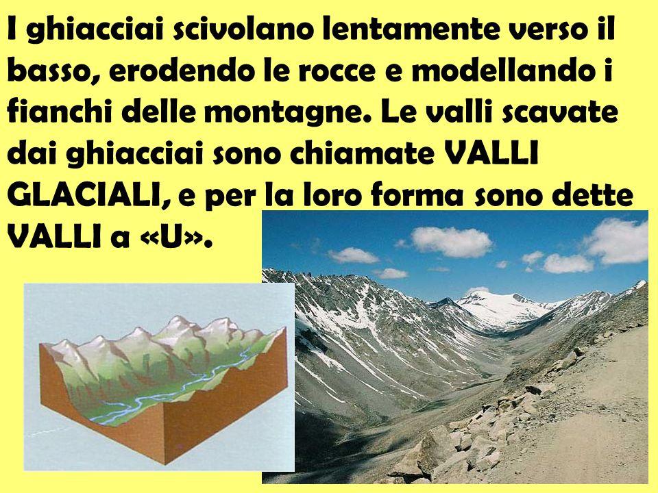 I ghiacciai scivolano lentamente verso il basso, erodendo le rocce e modellando i fianchi delle montagne.