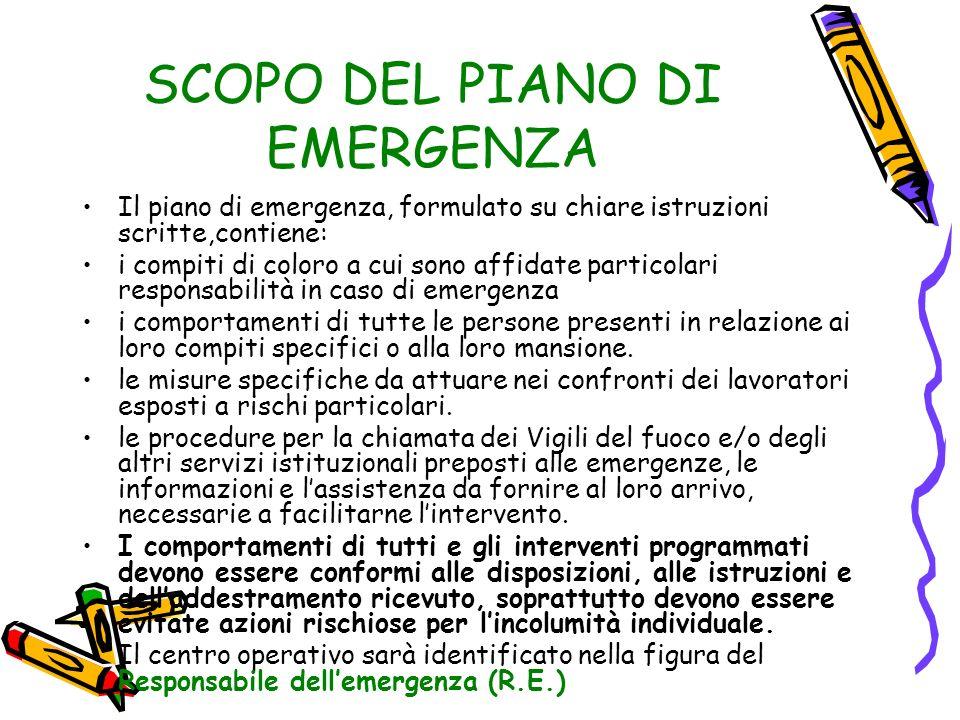 SCOPO DEL PIANO DI EMERGENZA