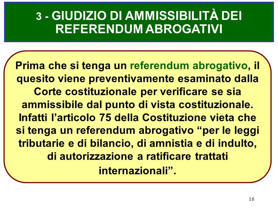 3 - GIUDIZIO DI AMMISSIBILITÀ DEI REFERENDUM ABROGATIVI