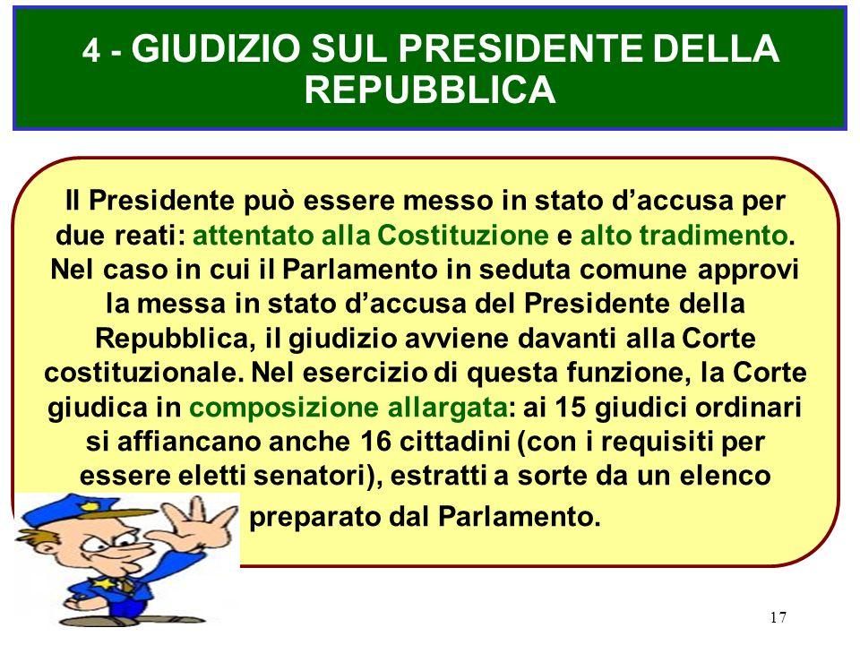 4 - GIUDIZIO SUL PRESIDENTE DELLA REPUBBLICA