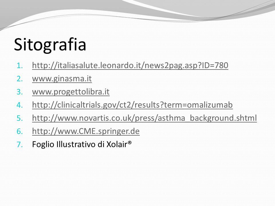 Sitografia http://italiasalute.leonardo.it/news2pag.asp ID=780