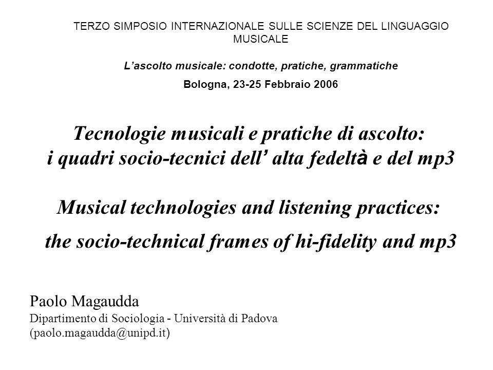 TERZO SIMPOSIO INTERNAZIONALE SULLE SCIENZE DEL LINGUAGGIO MUSICALE