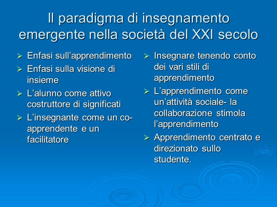 Il paradigma di insegnamento emergente nella società del XXI secolo