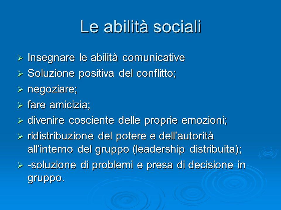 Le abilità sociali Insegnare le abilità comunicative