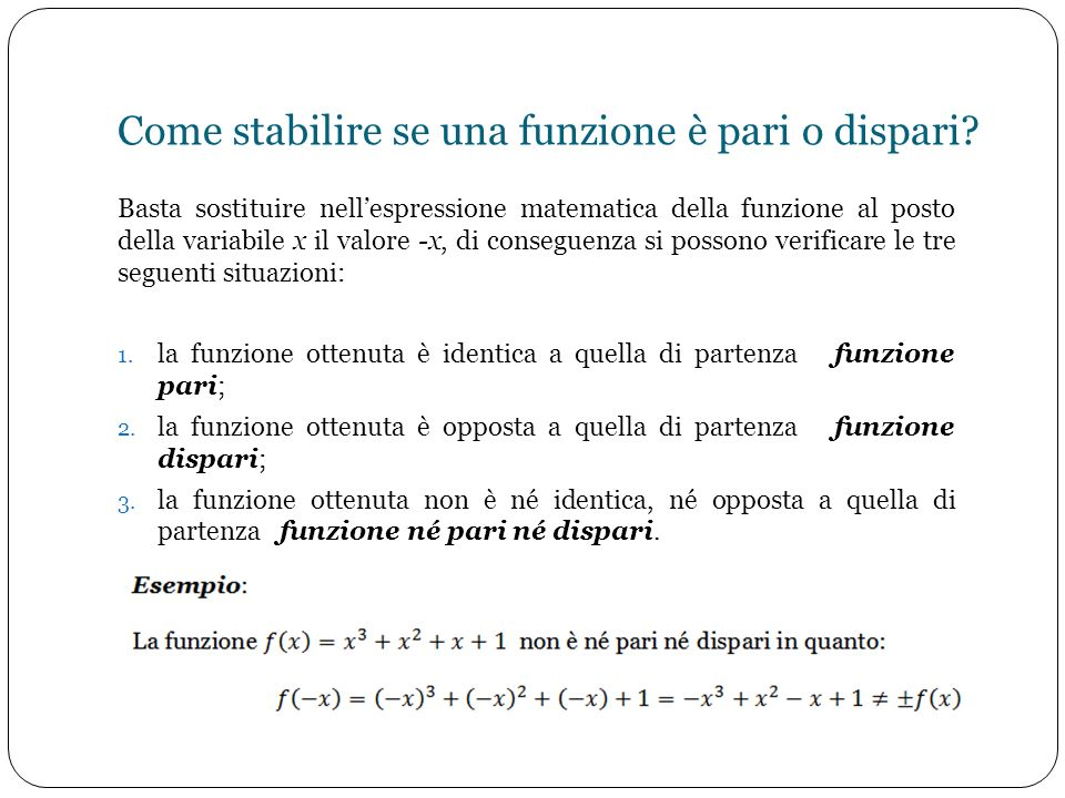 Come stabilire se una funzione è pari o dispari