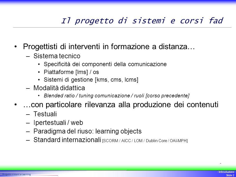 Il progetto di sistemi e corsi fad