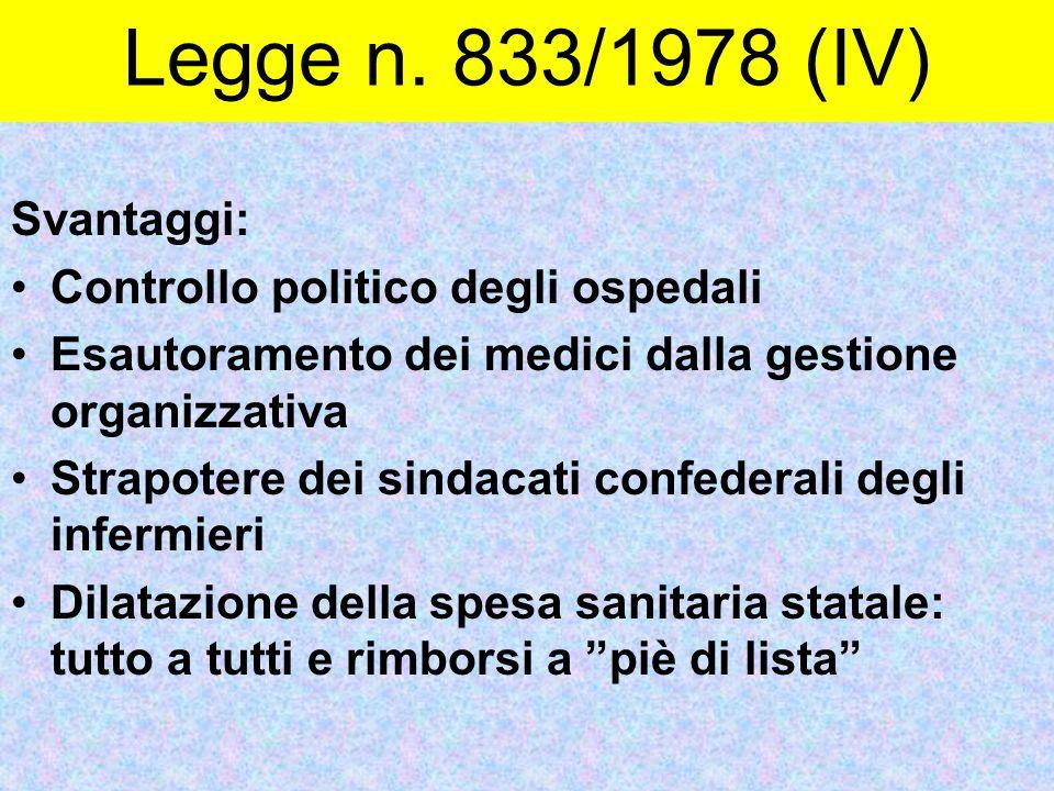 Legge n. 833/1978 (IV) Svantaggi: Controllo politico degli ospedali