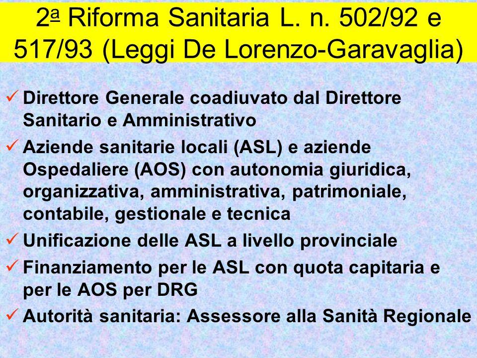 2a Riforma Sanitaria L. n. 502/92 e 517/93 (Leggi De Lorenzo-Garavaglia)