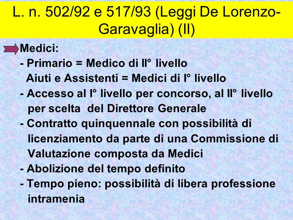 L. n. 502/92 e 517/93 (Leggi De Lorenzo-Garavaglia) (II)