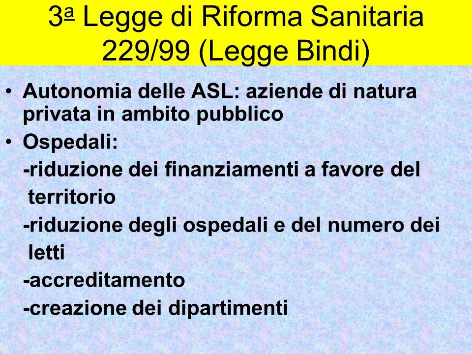 3a Legge di Riforma Sanitaria 229/99 (Legge Bindi)