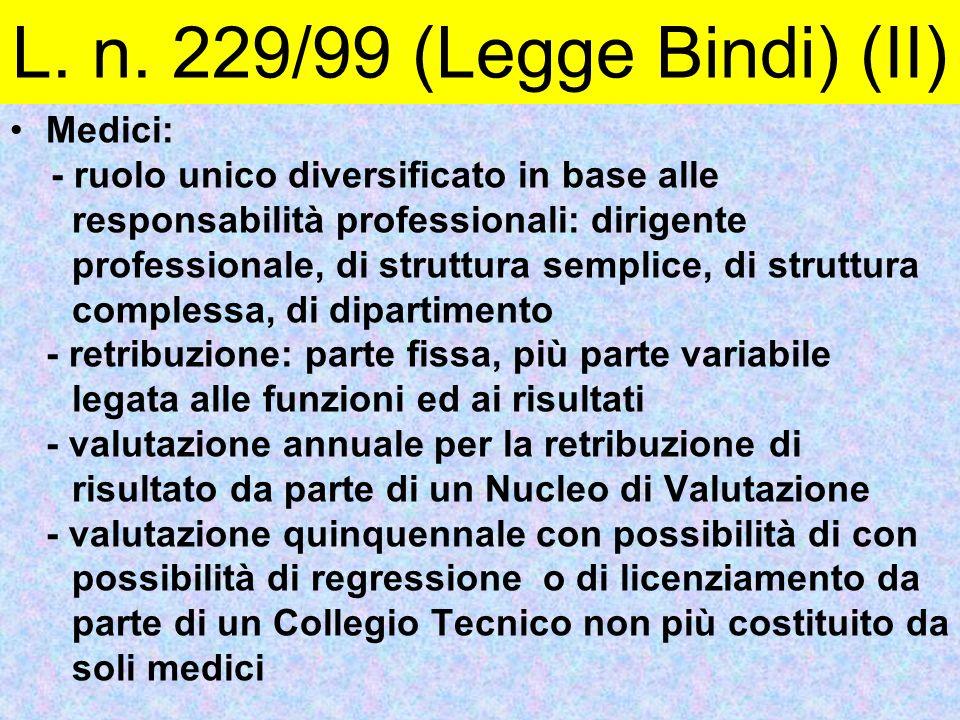 L. n. 229/99 (Legge Bindi) (II) Medici: