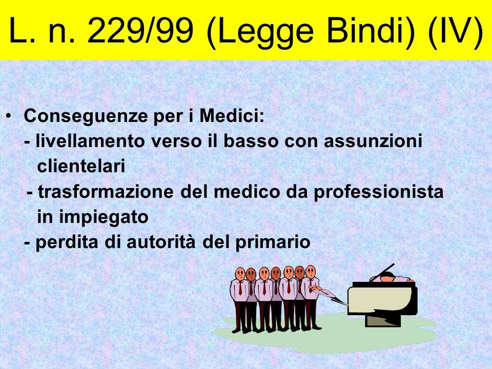 L. n. 229/99 (Legge Bindi) (IV) Conseguenze per i Medici:
