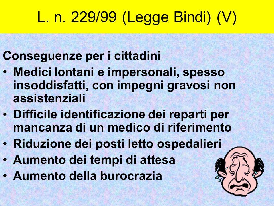 L. n. 229/99 (Legge Bindi) (V) Conseguenze per i cittadini