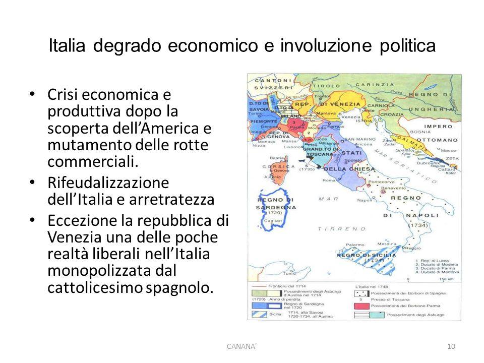 Italia degrado economico e involuzione politica