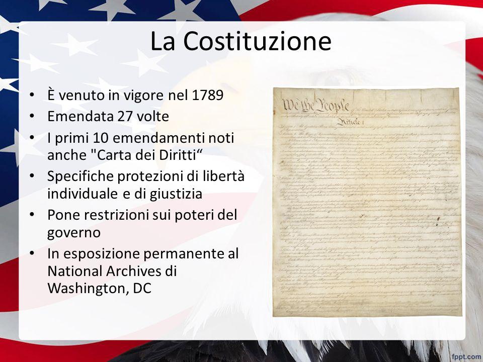 La Costituzione È venuto in vigore nel 1789 Emendata 27 volte
