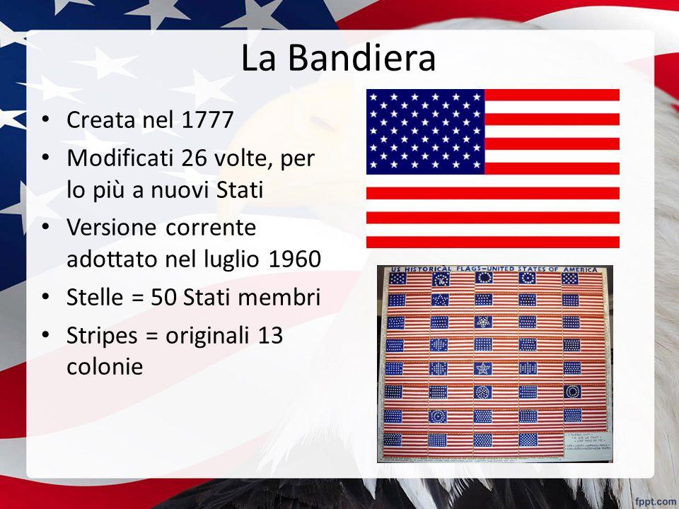La Bandiera Creata nel 1777. Modificati 26 volte, per lo più a nuovi Stati. Versione corrente adottato nel luglio 1960.