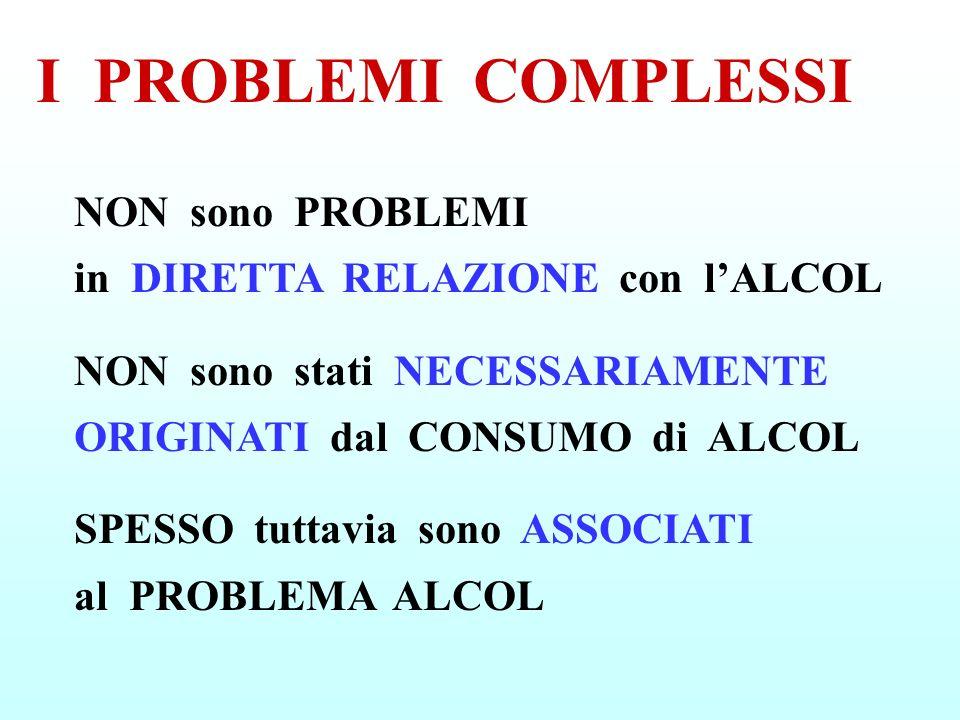 I PROBLEMI COMPLESSINON sono PROBLEMI in DIRETTA RELAZIONE con l'ALCOL.