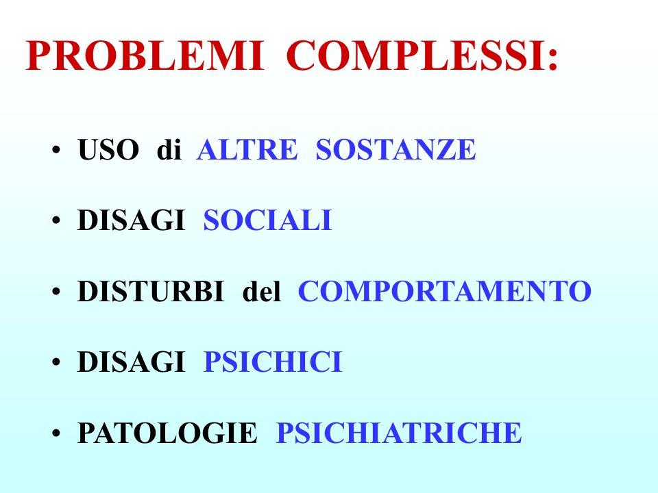 PROBLEMI COMPLESSI: USO di ALTRE SOSTANZE DISAGI SOCIALI