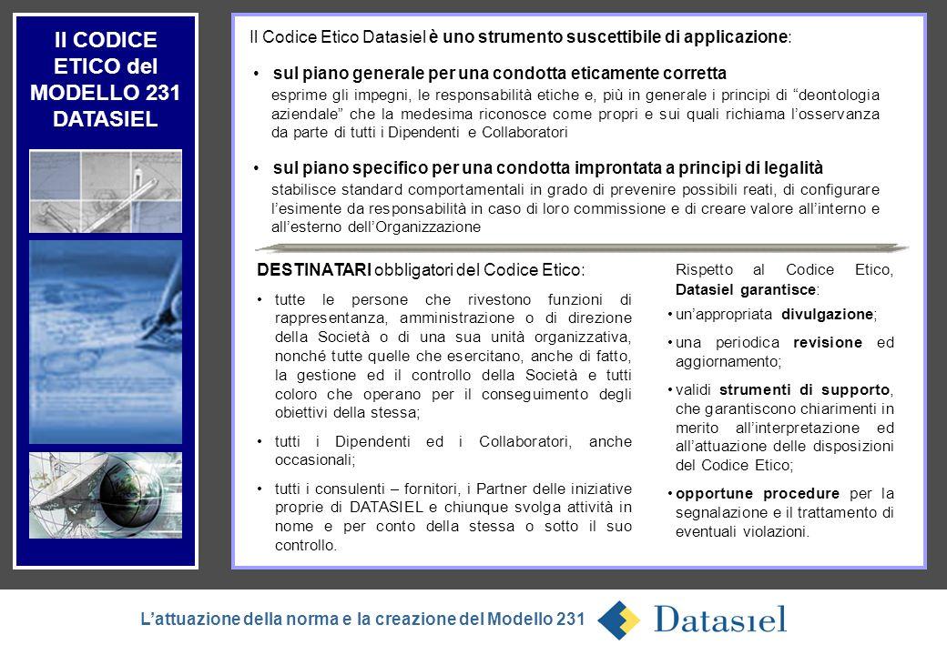 Il CODICE ETICO del MODELLO 231 DATASIEL