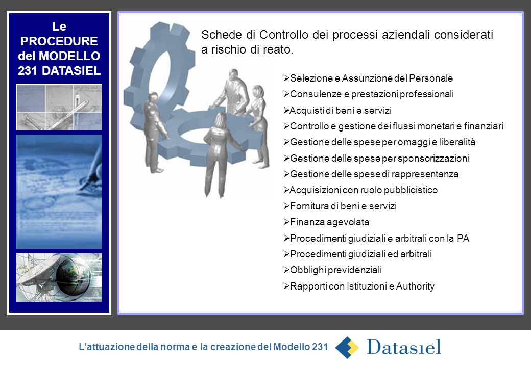 Le PROCEDURE del MODELLO 231 DATASIEL