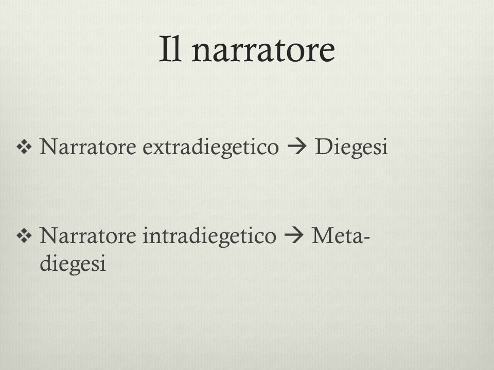 Il narratore Narratore extradiegetico  Diegesi