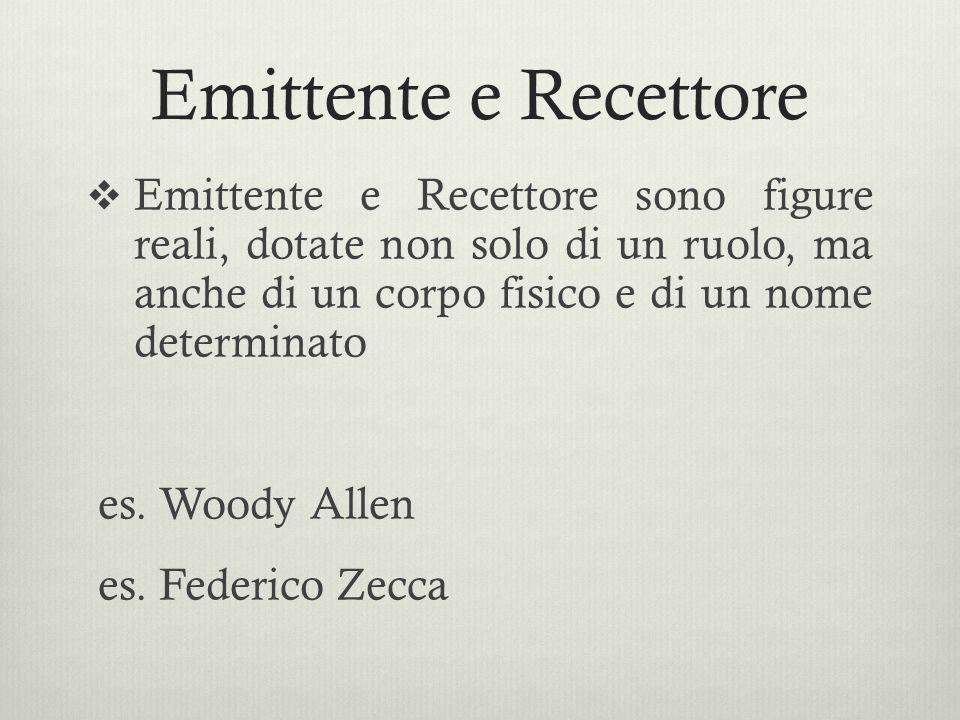 Emittente e Recettore Emittente e Recettore sono figure reali, dotate non solo di un ruolo, ma anche di un corpo fisico e di un nome determinato.