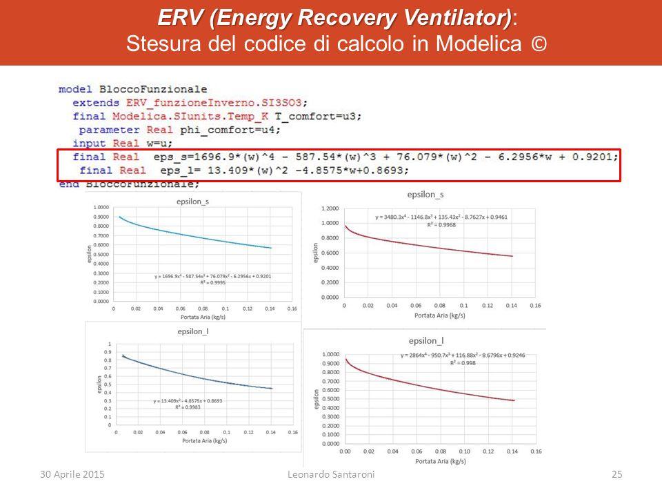 ERV (Energy Recovery Ventilator): Stesura del codice di calcolo in Modelica ©