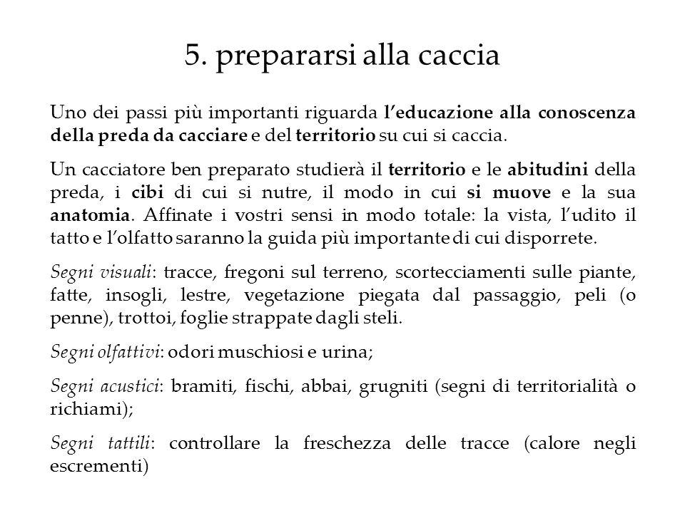 5. prepararsi alla caccia