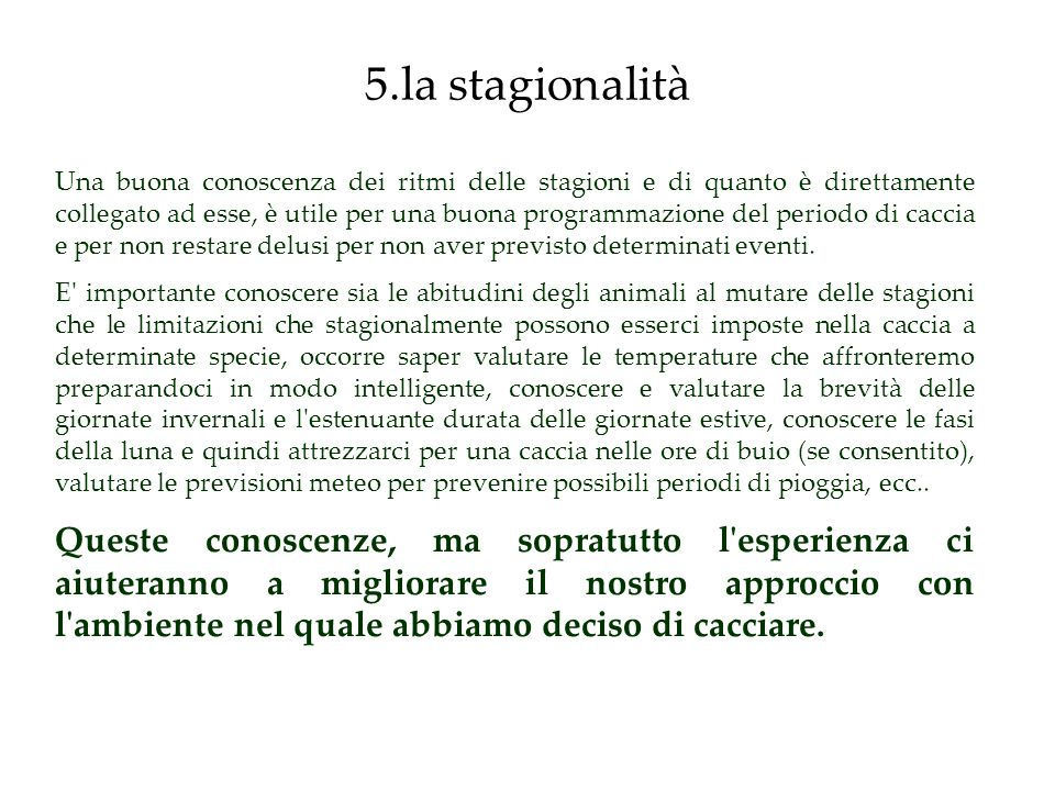 5.la stagionalità