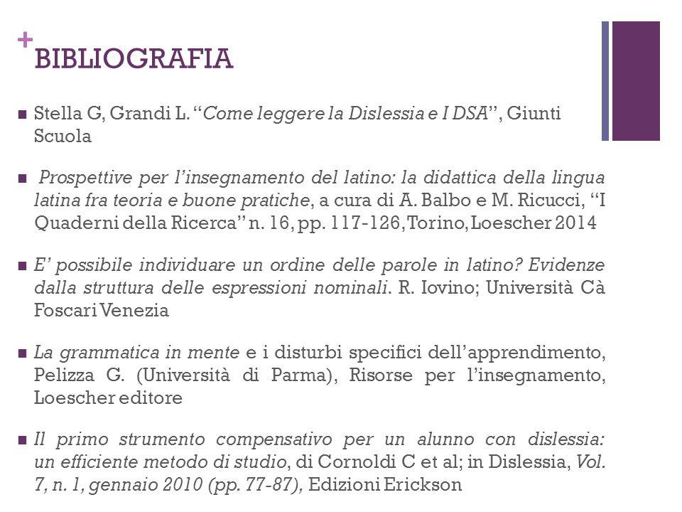 BIBLIOGRAFIA Stella G, Grandi L. Come leggere la Dislessia e I DSA , Giunti Scuola.