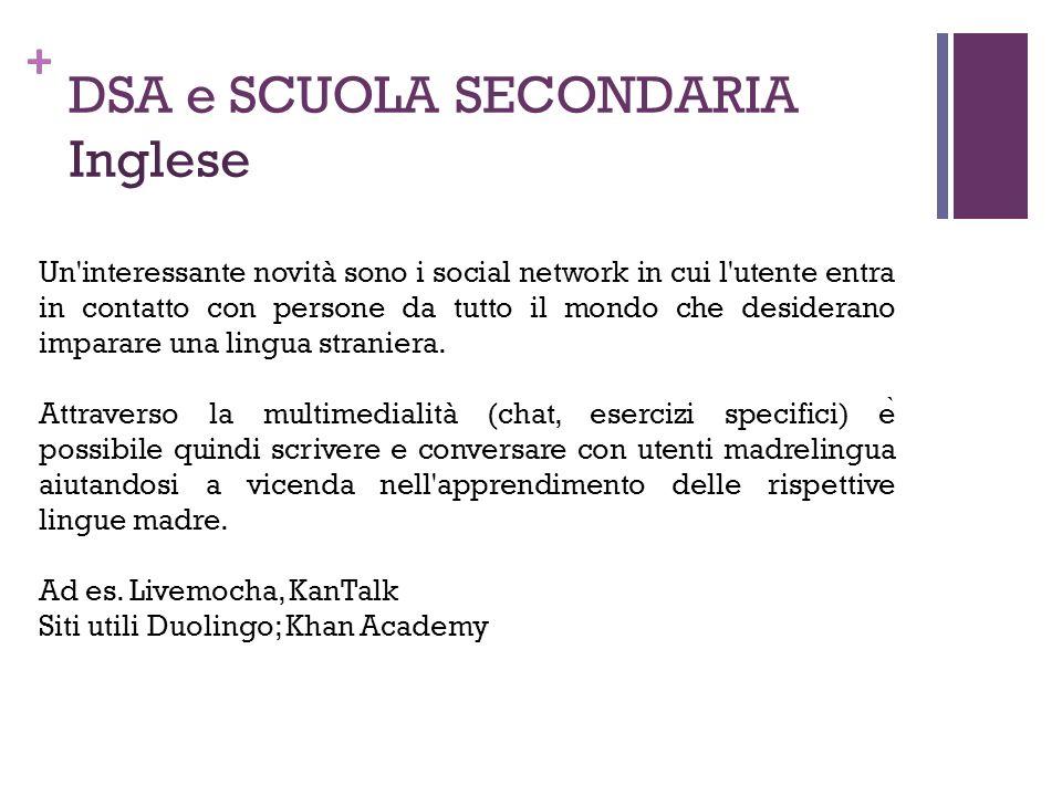 DSA e SCUOLA SECONDARIA Inglese