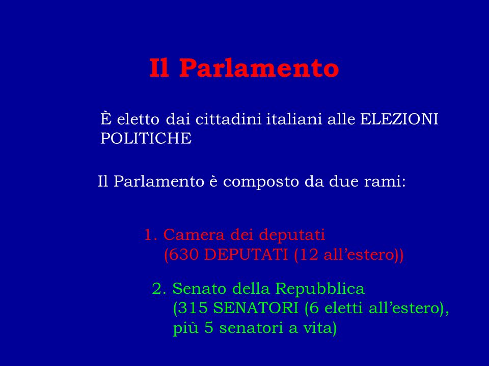 Il Parlamento È eletto dai cittadini italiani alle ELEZIONI POLITICHE