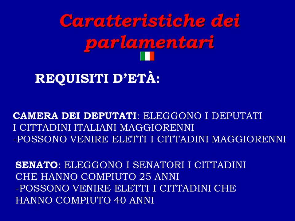 Caratteristiche dei parlamentari