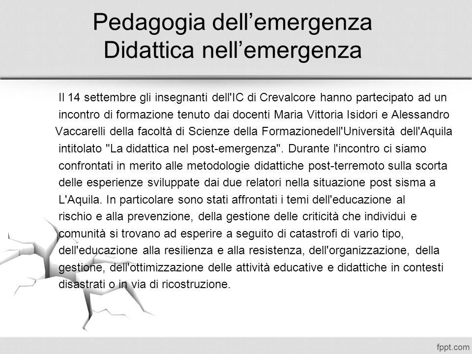 Pedagogia dell'emergenza Didattica nell'emergenza