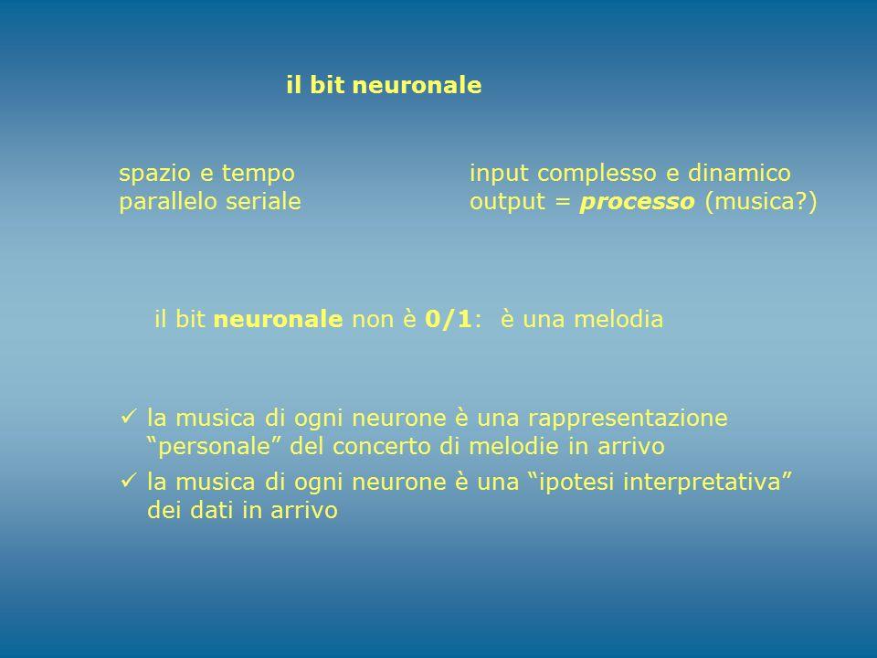 il bit neuronale spazio e tempo. parallelo seriale. input complesso e dinamico. output = processo (musica )