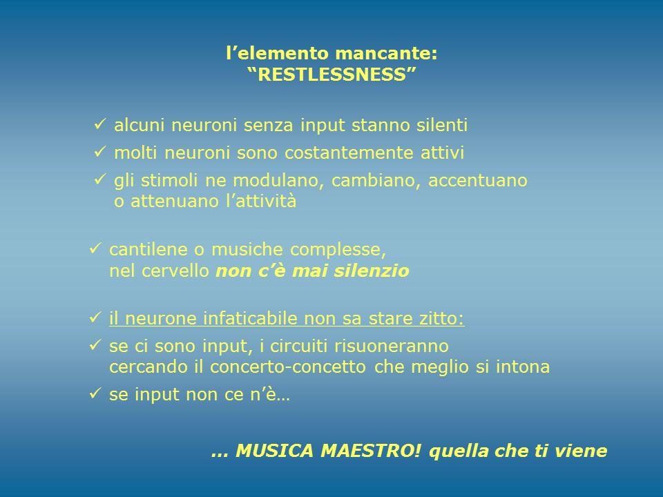 l'elemento mancante: RESTLESSNESS alcuni neuroni senza input stanno silenti. molti neuroni sono costantemente attivi.