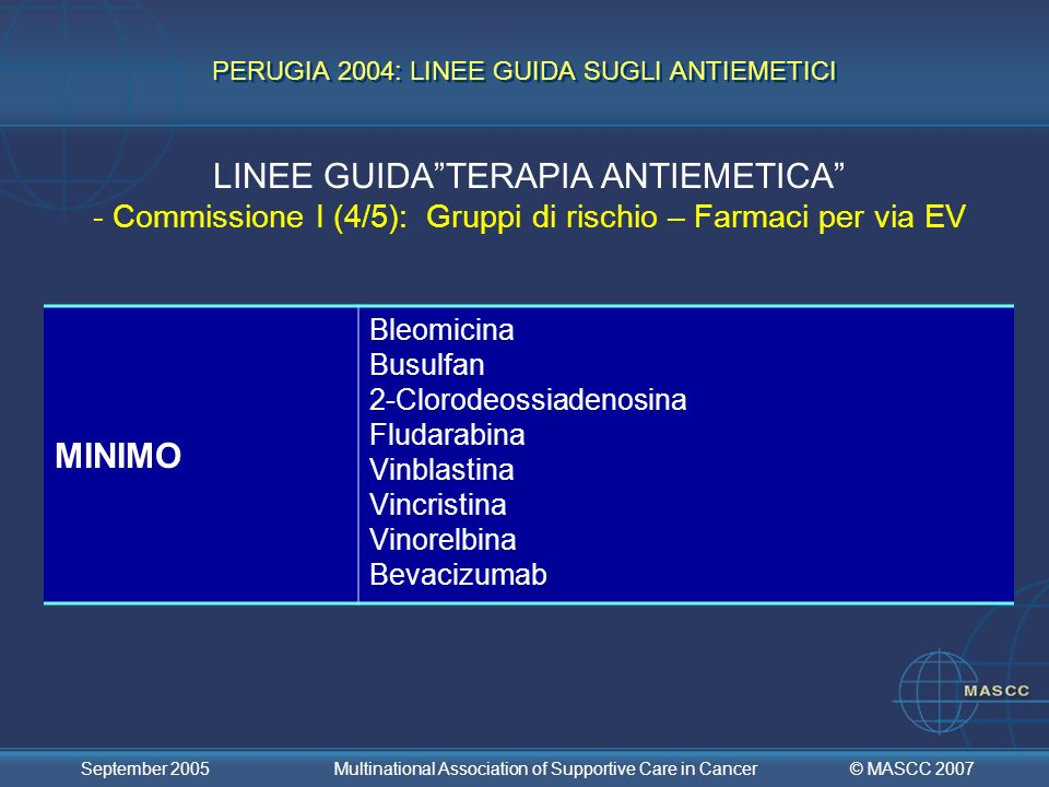 PERUGIA 2004: LINEE GUIDA SUGLI ANTIEMETICI