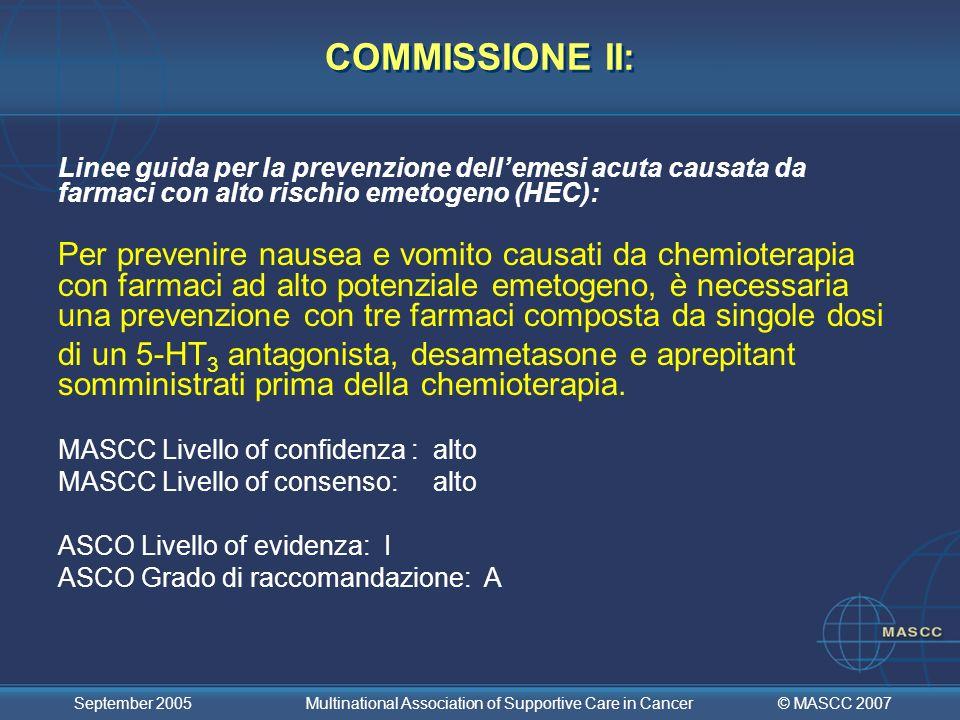 COMMISSIONE II: Linee guida per la prevenzione dell'emesi acuta causata da farmaci con alto rischio emetogeno (HEC):