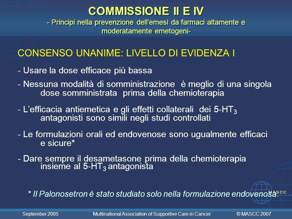 COMMISSIONE II E IV - Principi nella prevenzione dell'emesi da farmaci altamente e moderatamente emetogeni-